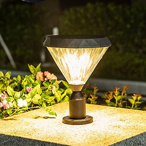 WRMING 10W LED Poste de Luces para Exteriores Aluminio Lámpara de jardín Negro IP65 Lámpara de Poste Poste de Jardín para Patio terraza Terrazas Iluminación de Caminos, 3000K,800lm