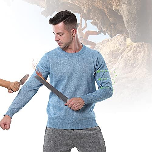 HIMAugbo Schnittfestes Hemd, Level 5 Verschleißfest Schnittfeste Anti-Slash-Kleidung, Leicht und Atmungsaktiv Anti-Cut Weste, Leibwächter, Klettern, Bewegliches Glas,Long Blue,L