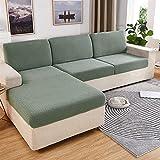 Reyox Fundas de cojín elásticas de jacquard para sofá, fundas de cojín individuales, fundas de asiento de sofá, fundas de sofá antideslizantes, 29-37 pulgadas de ancho, 52-64 pulgadas de largo, verde