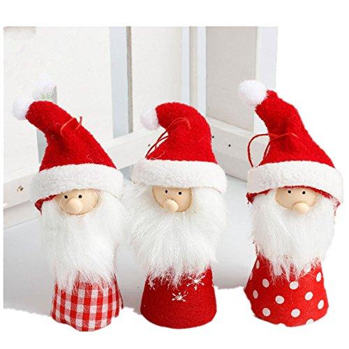 Freessom Kit de 3pcs Poupée Noël Décoration pour Sapin Ornement Suspendu Mignon Traditionnel Arbre Noel Cadeau Décor à Suspendre Porte Couronne Magasin Original (Rouge et Blanc 1)