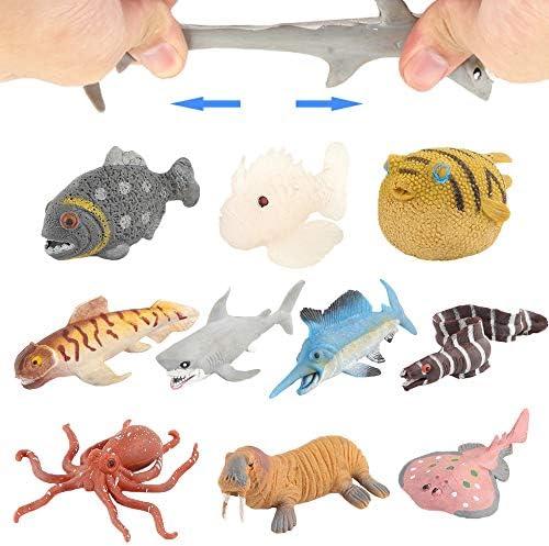 38pcs Réaliste Caoutchouc Sea vie Nicwhite Ocean Animaux marins Figure bath toys Set