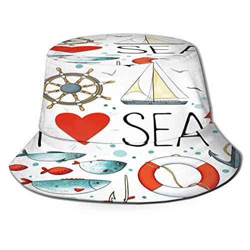 Chapeau de pêcheur Bobs,J'aime la citation de la mer avec la figure de coeur Matériaux de la mer Ancre Boussole Corde nouée Blanc,pour casquettes de soleil pour seau jardinage bateau de pêche chapeau