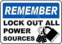 ロックアウトすべての電源ティンサイン壁鉄絵レトロプラークヴィンテージメタルシート装飾ポスターおかしいポスター吊り工芸用バーガレージカフェホーム