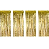 Sumind 4 Pack Foil Curtains Metallic Fringe Curtains Shimmer Curtain for Birthday Wedding Party Christmas...