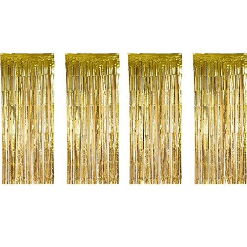 4 Pack Foil Curtains Tinsel Curtains Glitter Curtains Shimmer Fringe Metallic Decorated Curtains Backdrops for Party Supplies, Gold