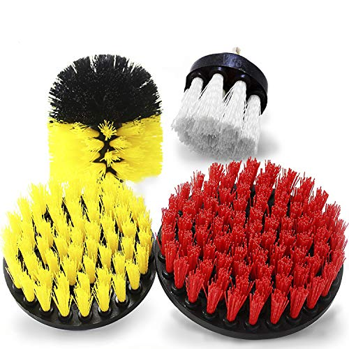 Drill Brush Set of 4, Soft, Medium, and Stiff Power Scrubbing Brush Drill Attachment, for The Toughest Cleaning Jobs, Drill Powered Cleaning Attachments for Bathrooms, Kitchens, Cars and More