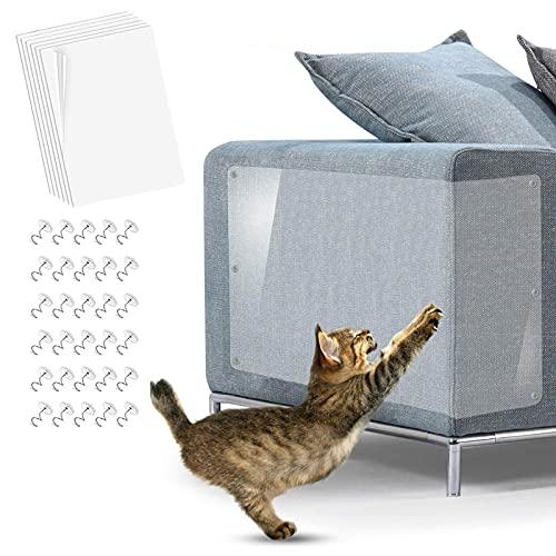 KTL Lot de 6 protections auto-adhésives avec épingles pour meubles contre les griffades de chat 40,6 x 30,5 cm