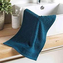 Douceur d'Intérieur - Toalla para Invitados, 30 x 50 cm, Esponja Lisa, Color Azul Noche