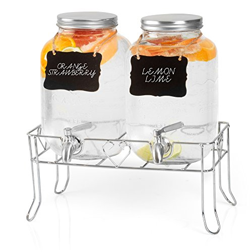 Outdoor Glass Beverage Dispenser 2 Pack with Sturdy Metal Base, Hanging Chalkboards & Stainless Steel Spigots - Double Drink Dispensers for Lemonade, Tea, Cold Water & More