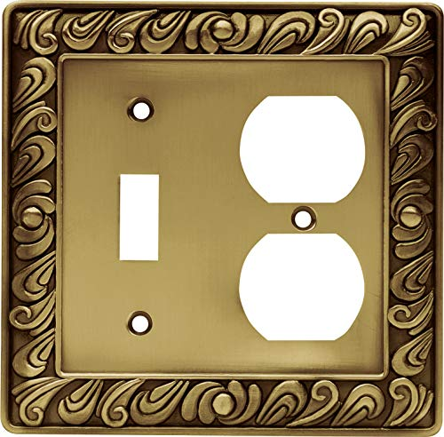 Franklin Brass 64051 Paisley Single Toggle Switch/Duplex Outlet Wall Plate / Switch Plate / Cover, Tumbled Antique Brass