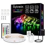 Sylvwin Tiras LED, Tiras de Luces LED RGB de 5m con Control Remoto,Tiras de Luz LED con 16 Cambios de Color y 4 Modos para el Hogar, Dormitorio, TV, Decoración de Gabinetes, Fiesta, 12V