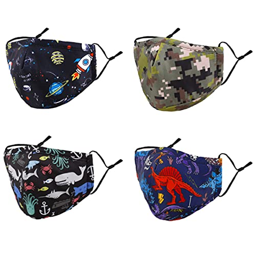 Woplagyreat Washable Reusable Kids Face Mask Adjustable Ear Loops Fabric Facemask Cute Dinosaur Camouflage Camo Dino Design Gift