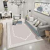 Alfombra Salon Beige Elegante Alfombras de Habitacion Vinilica Salón Moderno de Pelo CortoTamaño Rectangular Suave al Tacto para Dormitorio Habitacion 80×150cm