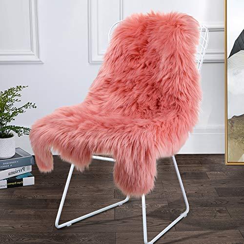 Softlife Kunstfell-Teppich für Schlafzimmer, Wohnzimmer, Heimdekoration 2ft x 3ft Irregular Korallenrot