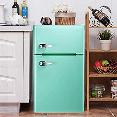 Bossin 3.2 CU. FT Compact Refrigerator 2 Door MIni Fridge Chiller and Freezer Compartment with Removable Glass Shelves Drink Food Storage Cooler for Office, Dorm, Apartment, Bedroom?Green?