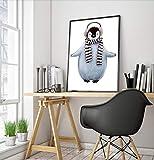 ganlanshu Pintura nórdica Cartel nórdico Animal de Dibujos Animados Lindo habitación de los niños decoración de la Pared Arte Lienzo Cuadro ZGQ3410 40X60 cm