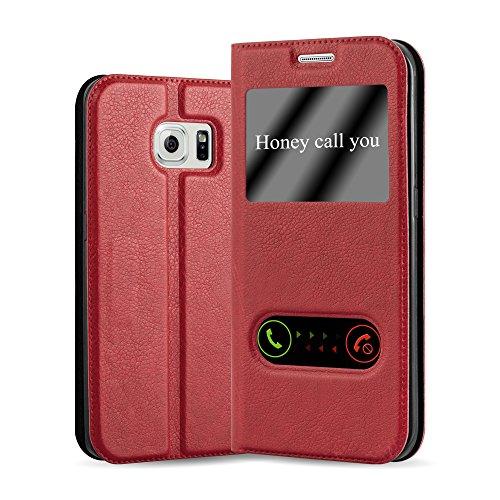 Cadorabo Funda Libro para Samsung Galaxy S6 Edge Plus en Rojo AZRAFÁN - Cubierta Proteccíon con Cierre Magnético, Función de Suporte y 2 Ventanas- Etui Case Cover Carcasa