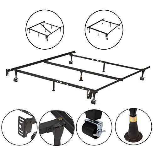 Kings Brand Furniture 7-Leg Adjustable Metal Bed Frame with Center Support Rug Rollers and...