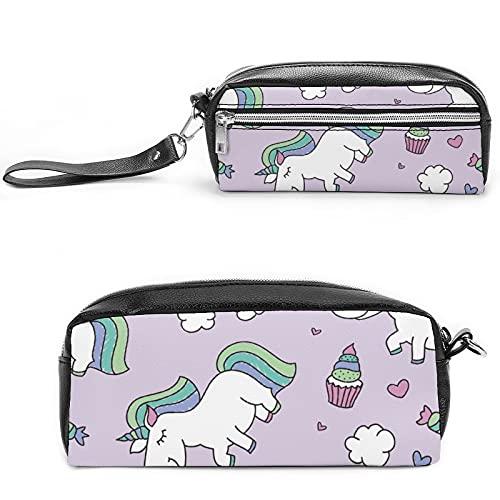 Unicornio de dibujos animados púrpura con arco iris, bolsa de cosméticos de viaje grande para mujer – Neceser de viaje y maquillaje cosmético bolsa con muchos bolsillos, Estilo negro, 20*10*5.5cm,