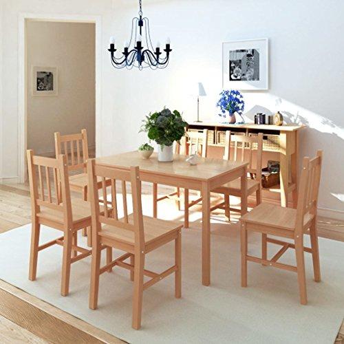 Festnight 7TLG. Essgruppe aus Pinienholz | Esstisch mit 6 stühlen | Esstischgruppe Sitzgruppe Esstisch-Set Stuhlset Holz Braun