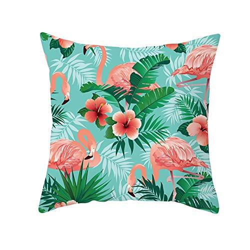 Fundas de cojín Fundas de Almohada decorativas Plantas Verdes Flamingo Terciopelo Suave Cuadrado Fundas de Cojines para Sala de Estar Sofá Cama Coche Decor Throw Pillow Case V983 Pillowcase,40X40cm