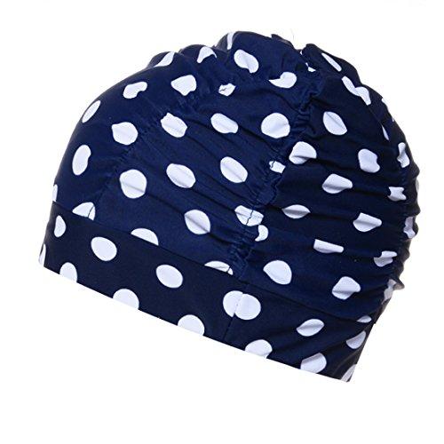 Boomly Unsex Badekappe Tab Schwimmhaube Mode Gemütlich Stoff Bademütze Zum Lange Haare Damen Mädchen Schwimmkappe (Navy blau #1)