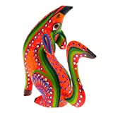 Majestic Howling Orange Coyote Oaxacan Alebrije Wood Carving Mexican Folk Art Animal Sculpture Painting