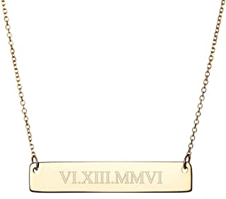 Gold Plated Custom Roman Numeral Bar Necklace (16 inches)
