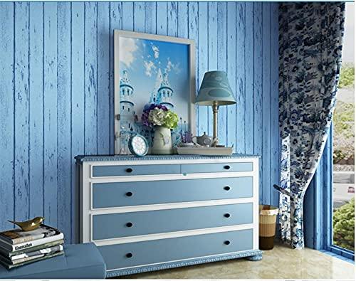 3D Papel Pintado Veta De Madera Nostálgica No Tejido Papel Pintado Azul Para Decoración De Pared De Dormitorio Y Hogar, Papel Pintado Minimalista De Lujo 0.53Mx9.5M