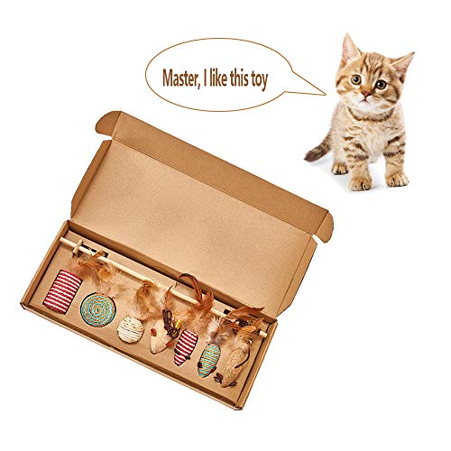 DXIA Kattenspeelgoed, Premium Interactief Kattenspeelgoed,Cat Toys Gift Box Kattenspeelgoed Interactive Wand Toy Set,7-delige Set,Voor Cat Activity, Hengel Met Muis, Natuurlijke Veren