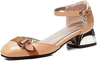 BalaMasa Womens ASL06341 Pu Block Heels