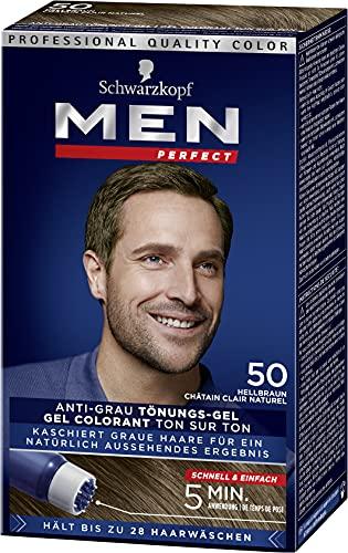 Schwarzkopf Men Perfect 50 Haartönung natur hellbraun, hochwertige Haarfarbe gegen graue Haare 3er Pack (3 x 80ml)