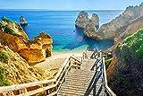 DesFoli Strand Weg Bucht Portugal Algarve Poster Kunstdruck