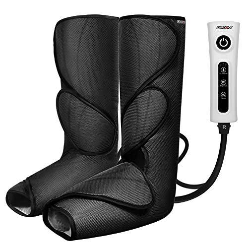 CINCOM - Masajeador de piernas para pantorrilla de pie, compresión, con controlador portátil de mano, 2 modos y 3 intensidades (negro)