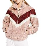 Sudadera de Vellón para Mujer Suéter Chaqueta de Invierno Suave y Cálida Manga Larga Cuello Alto con Cremallera Casual Moda Vintage (Rosa, XL)