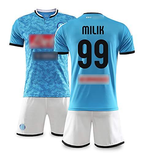 Mens Neapel Football Jersey 2019/20 Home Anzüge Maradonaa 17# Hamsik 99# Milik 20# Zielinkski Insigneshort Sleeve Und Shorts Anzug Outdoor Sports Und Tägliche K BackN99-XL