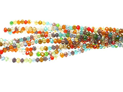 Creative-Beads Glasperle, Schliffperle, zum fädeln Radl ca.3,5x2,5mm Strang ca.100Stück, bunt AB,