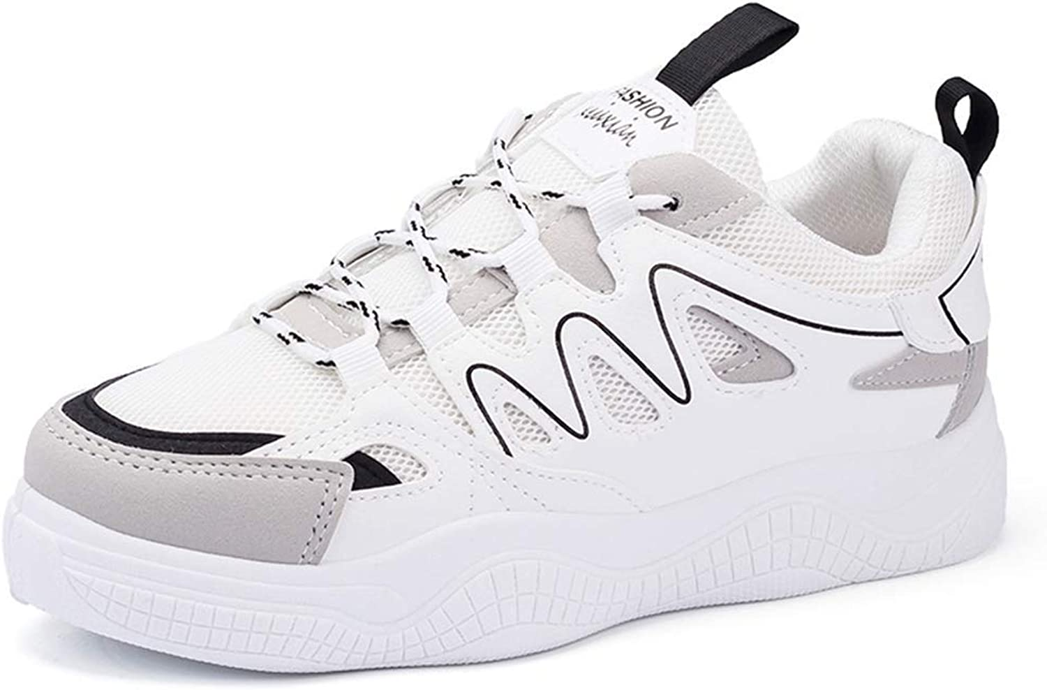 Wallhewb Women Breathable Mesh Vulcanize shoes Female Fashion Platform Lace Up High Leisure Sneakers to Wear with Dresses Slip On Comfortable Girls to Wear with Jeans White 6 M US Casual shoes