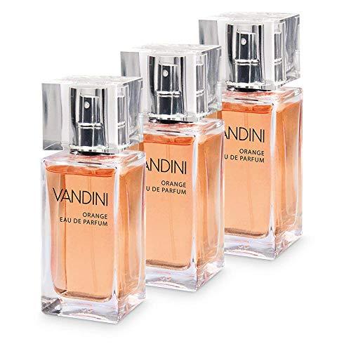 VANDINI Energy Eau de Parfum Damen - Parfüm Damen mit dem Duft von frischer Orange & Zedernholz im 3er Pack (3x 50 ml)
