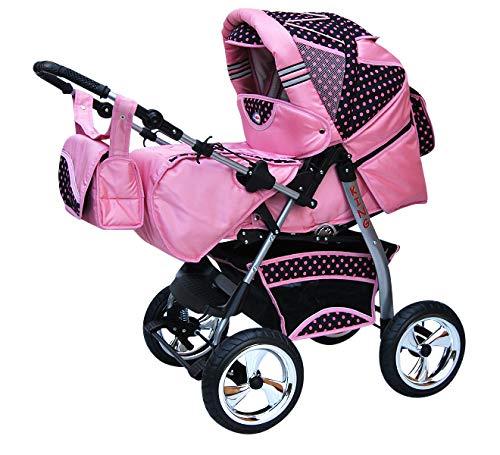 Cochecito de bebe 3 en 1 2 en 1 Trio Isofix silla de paseo King car by SaintBaby rosa & puntos rosa 2in1 sin Silla de coche