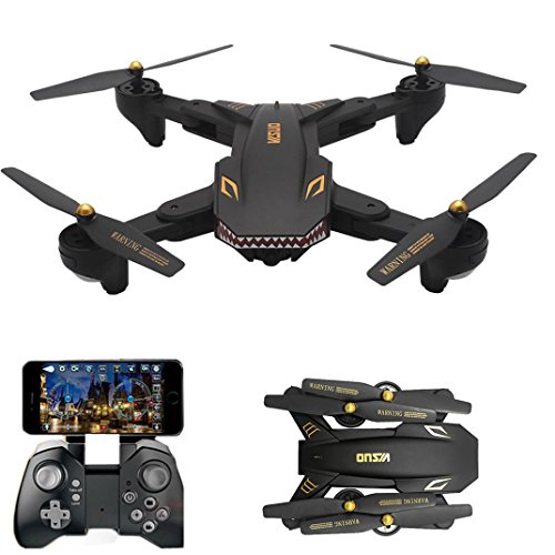 FPV WIFI Drone VISUO XS809HW with 120° FOV Wide Angle 720P HD Camera Live Video - Altitude Hold, Hovering, Headless Mode, Optical Flow (Black)