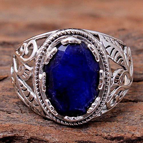 Blue-Sapphire 925 Sterling Silver Rings for Women, Blue Bridesmaid Rings, Oval Gemstone Rings, Statement Rings, prongs Set Handmade Rings