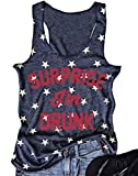 AMAZING1 Camiseta sin mangas Surprise I'm Drunk Tank Top de la bandera americana con estampado de estrellas sin mangas para mujer 4 de julio