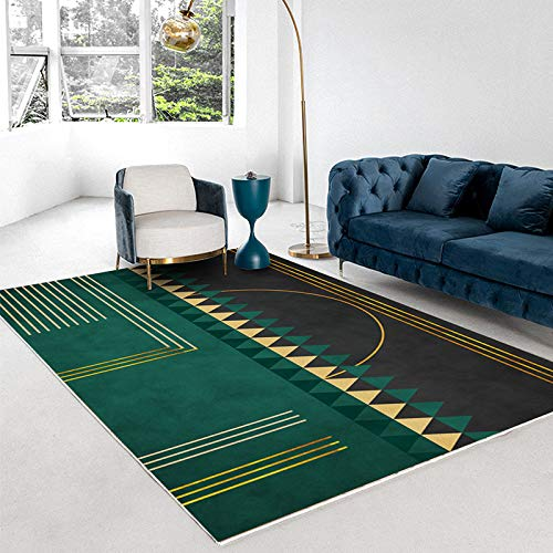 Oukeep Homestay Style Green Carpet Modern Minimalist Light Luxury Abstract Bedroom Living Room Coffee Table Mat Thick Non-Slip Golden Geometric Door Mat
