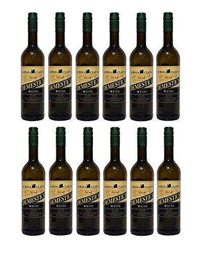12x Demestica je 750 ml griechischer Weißwein trocken Achaia Clauss 12% + 2 Probier Sachets Olivenöl aus Kreta a 10 ml - Demestika griechischer weißer Wein Tafelwein