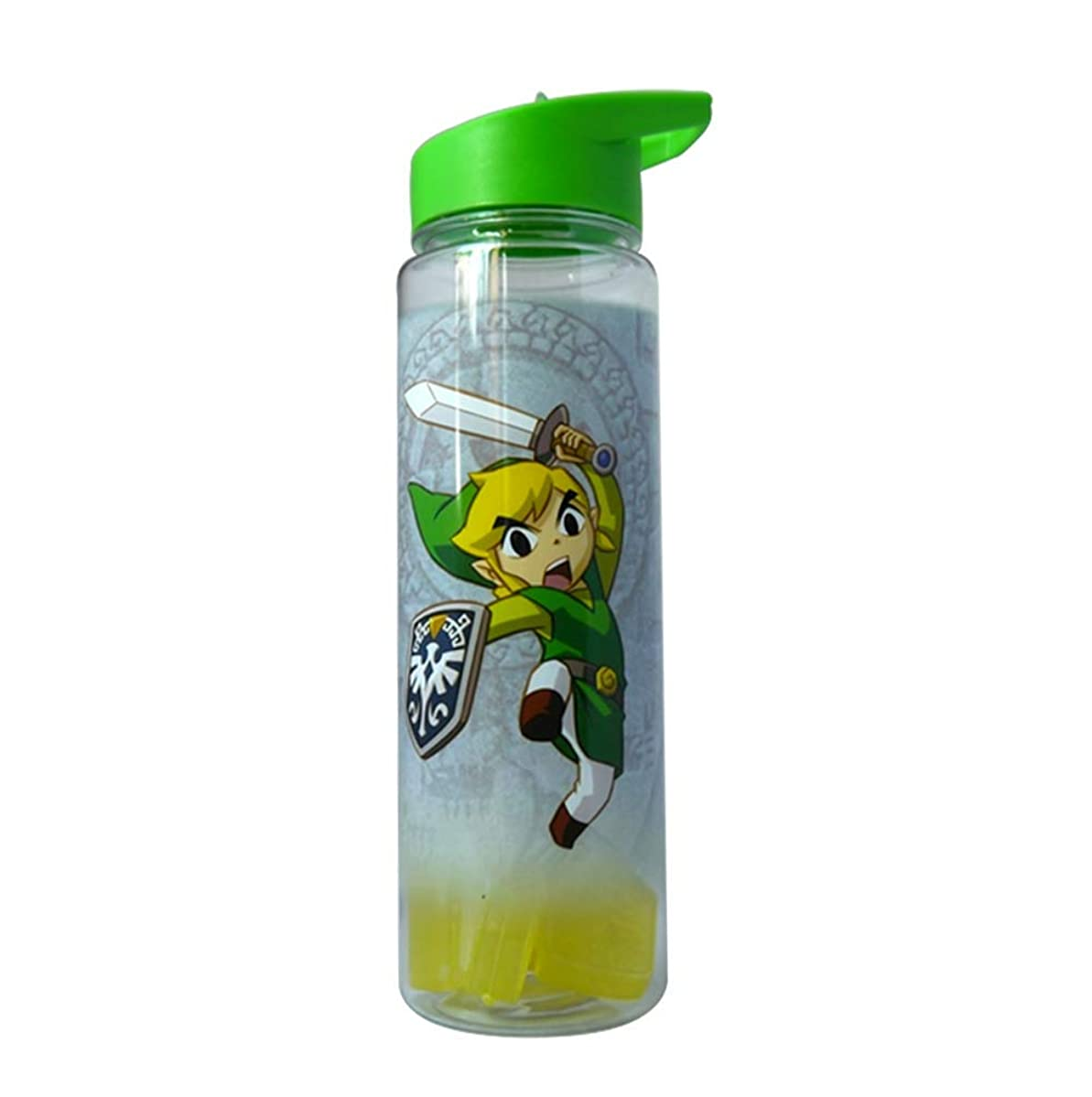 JUST FUNKY Zelda Water Bottle, Hydro Flask, Sports Bottle, Drinking Bottle, Gym Bottles with Molded Ice Cubes, BPA Free Water Bottle with Clear Background, Set of 1, 26oz