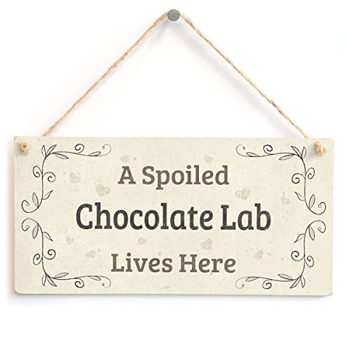 "Señal de madera con texto ""A Spoiled Chocolate Lab Lives Here"" (idioma español no garantizado), accesorio para el hogar, para dueños de perro labrador chocolate"