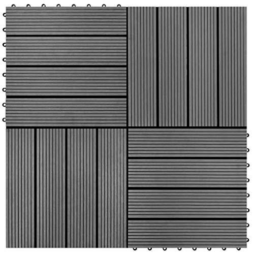 HUANGDANSP Baldosas de WPC 30x30 cm 11 Unidades 1 m² Gris Bricolaje Materiales de construcción Suelos y moquetas