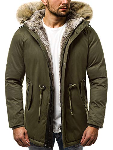 OZONEE Herren Winterjacke Parka Jacke Kapuzenjacke Wärmejacke Wintermantel Coat Wärmemantel Warm Modern Camouflage Täglichen 777/348K Khaki 2XL