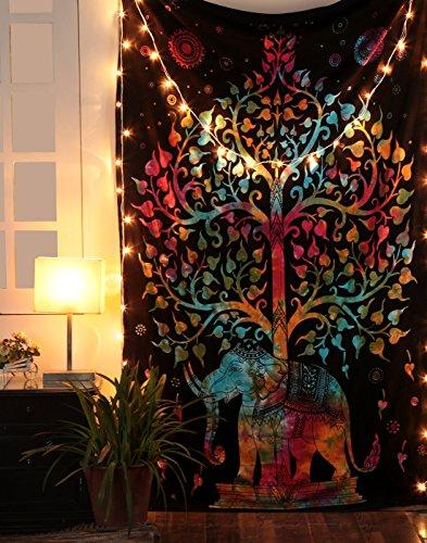 Tree of Life Wall Hanging - Tapiz de elefante Multi decorativo Hippie negro Mandala Boho Picnic Beach Sheet 213 x 137 cms